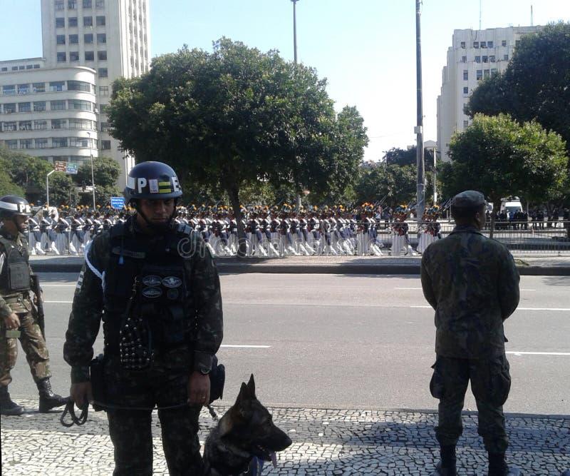 Guard and army in Presidente Vargas avenue brazilian independence day parade. 09-07-2019 Brazilian independence day parade. Guards and Army in Presidente Vargas stock photos