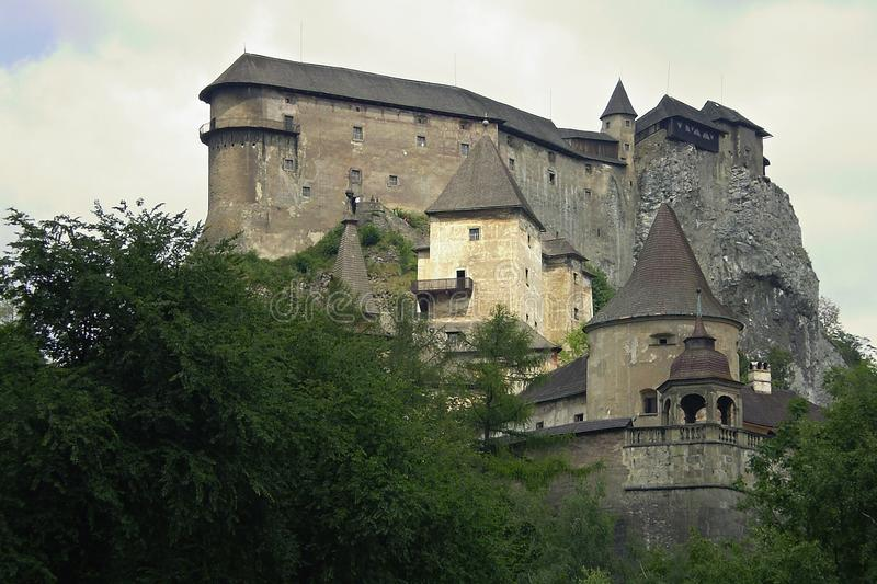 Guard castle. Castle on a rock with high towers. Orava Castle-Slovakia royalty free stock photo