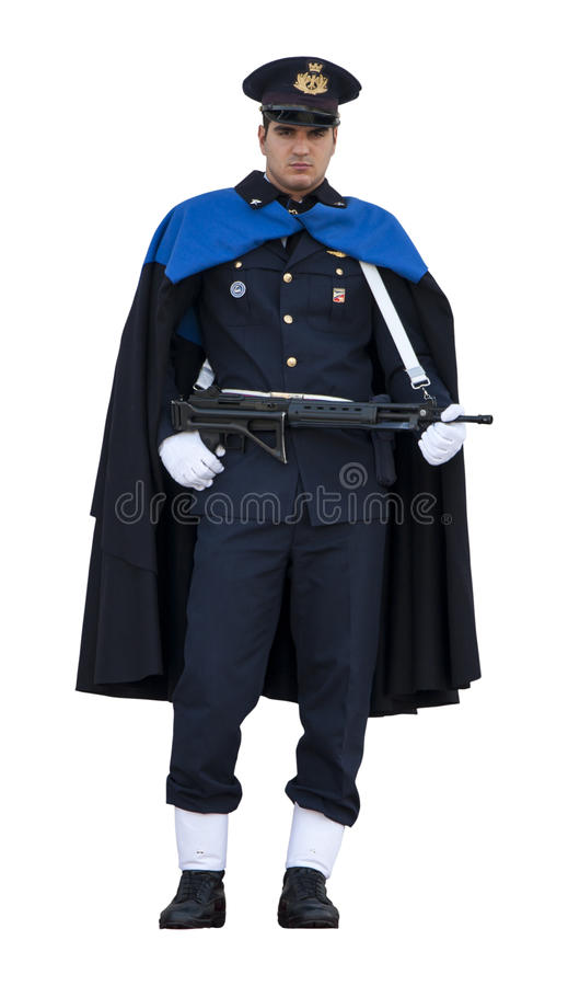 Guard Ceremonial in Rome (Victorian) with rifle. On white. Guard Ceremonial Altar of the Fatherland in Rome (Victorian) with rifle. The guard of honor has a gun royalty free stock photos