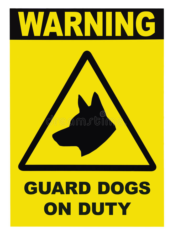 Guard Dogs Patrol On Duty Signage. Isolated royalty free stock photos