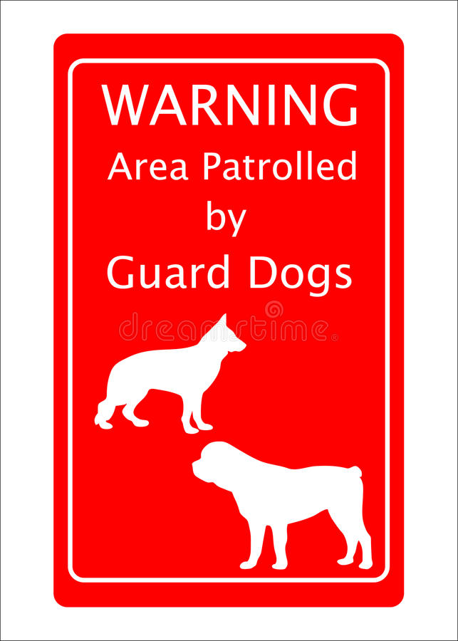 Guard Dogs Warning Sign. German Shepherd and Rottweiler Guard dogs patrolling area warning sign vector illustration