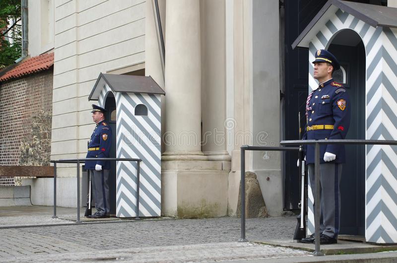 Guard in the entrance of Prague castle stock images