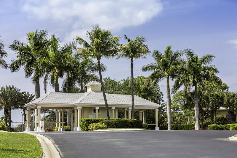Entrance to gated community in Naples, Florida. Guard entrance to gated community in Naples, South Florida stock photos