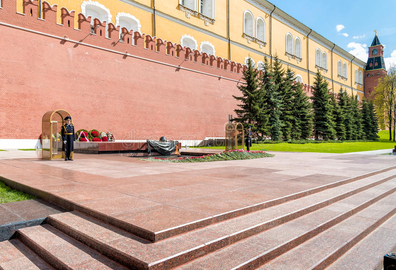 Guard of honor near Eternal flame war memorial in Alexanders garden in Moscow. royalty free stock photo