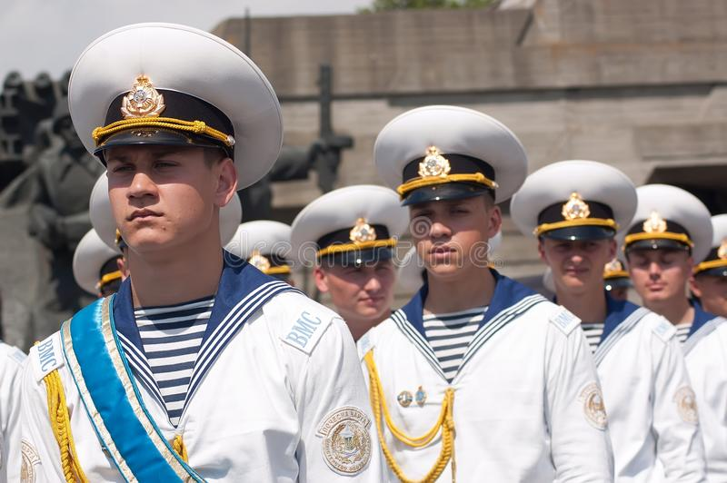 Guard of honor at Victory Day celebration in Kyiv, Ukraine. Kyiv, Ukraine - May 8, 2009: Young navy cadets stand in formation as a guard of honor at Victory Day stock photography