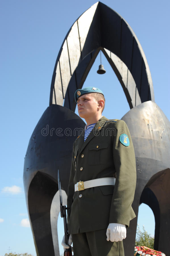 Guard of honour. ULAN-UDE, RUSSIA - SEPTEMBER 11: Guard of honour at Black Tulip - monument to the fallen soldiers in Afghanistan on annual meeting of Afghan war stock images