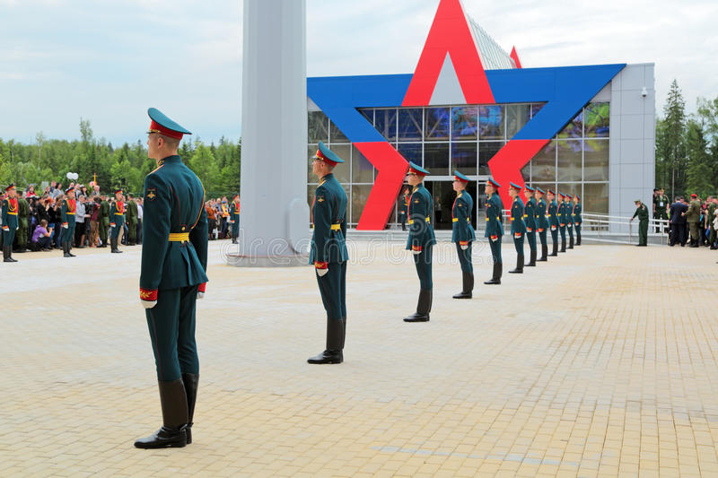 Guard of honour. KUBINKA, MOSCOW OBLAST, RUSSIA - JUN 16, 2015: A battalion of the guard of honour of the commandant of the regiment preparing meets with the stock photography