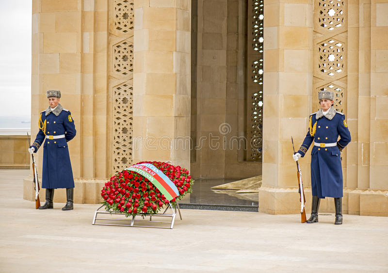 Guard of Honour in Martyrs' Lane. The Azerbaijan Guard of Honour parades when visiting dignitaries meet the President of Azerbaijan and here on memorial day 20th royalty free stock photo
