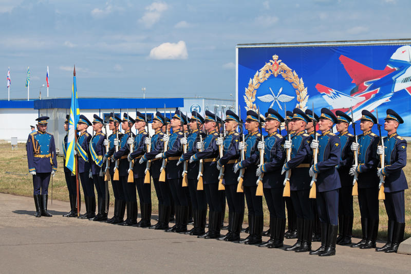 Guard of honour. ZHUKOVSKY, RUSSIA — AUG 11: The celebrating of the 100 anniversary of Russian air force. August, 11, 2012 at Zhukovsky, Russia. A stock photo
