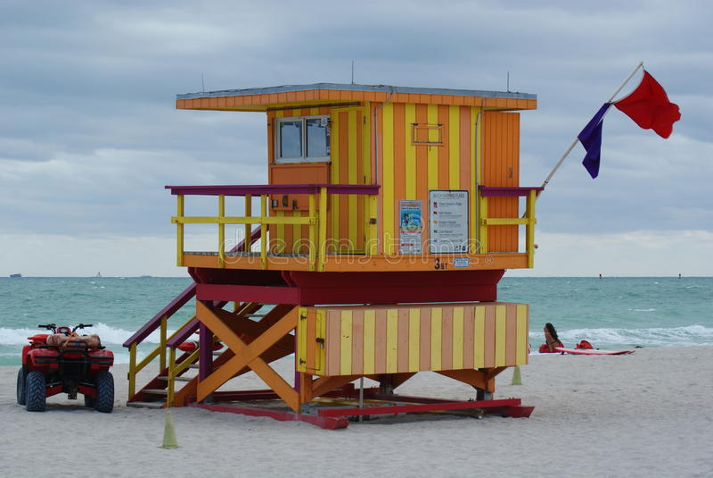 Guard house on miami beach pt.3 royalty free stock photo