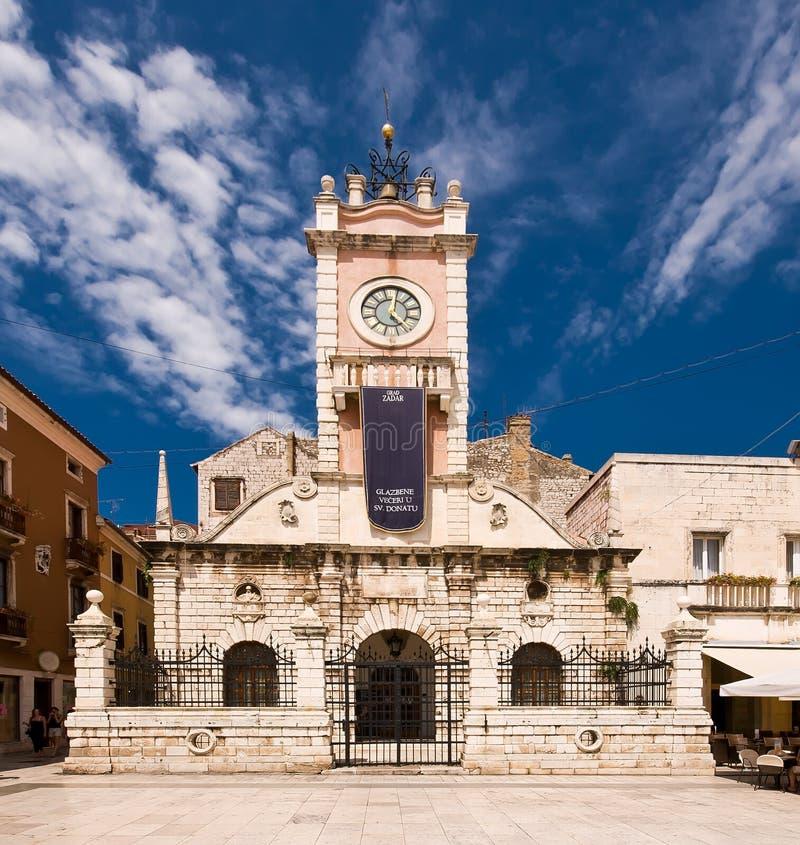 Guard house in Zadar, Croatia with clock tower stock photo