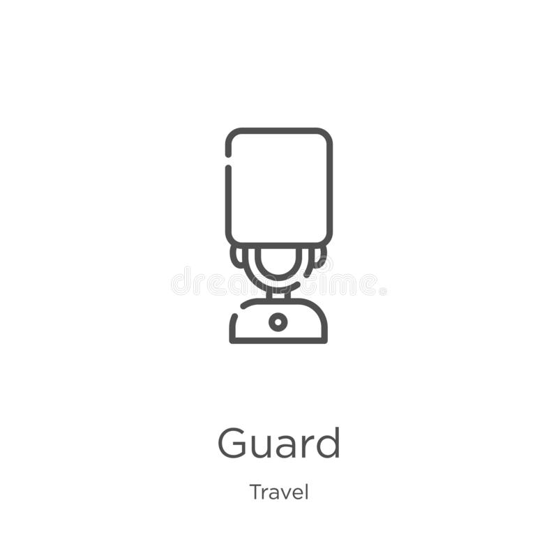 Guard icon vector from travel collection. Thin line guard outline icon vector illustration. Outline, thin line guard icon for. Guard icon. Element of travel stock illustration