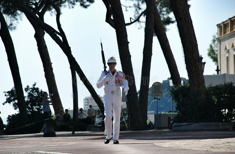 Guard - Monaco. The royal palace of Monaco, the official residence of the King royalty free stock photos