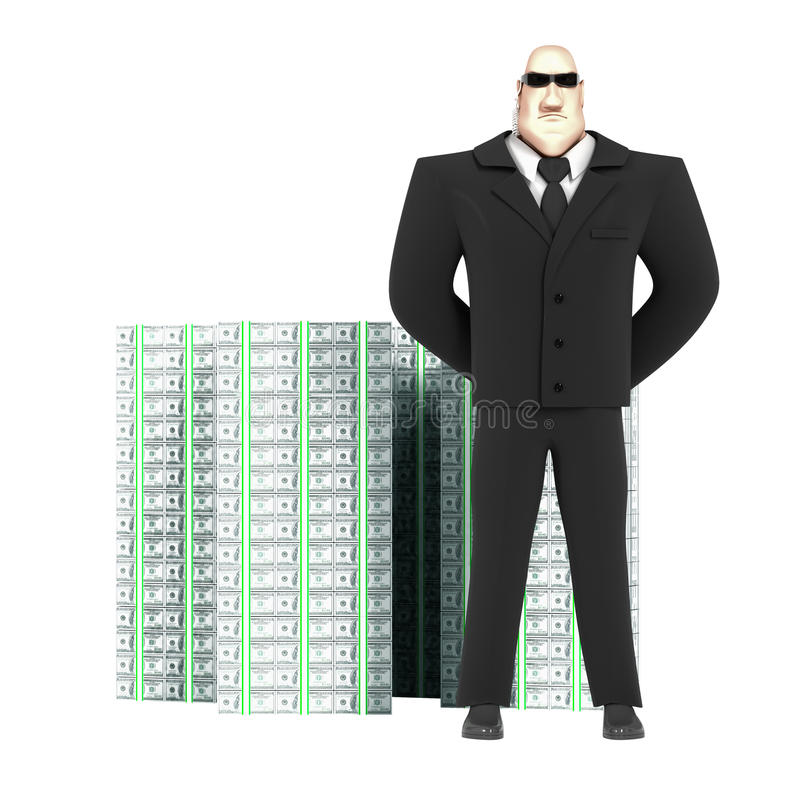 Guard and money vector illustration