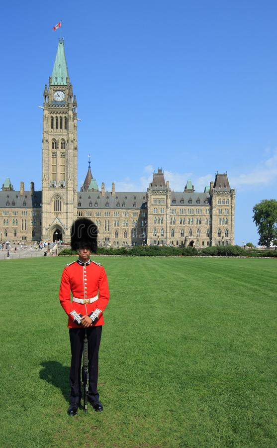 Guard Posing on Parliament Hill royalty free stock images