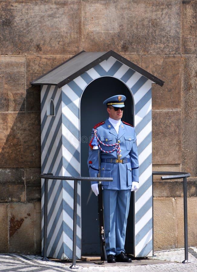 Guard at Prague Castle. Blue uniformed guard, with bolt action rifle and chromed bayonet, Prague Castle, Czech Republic stock photos