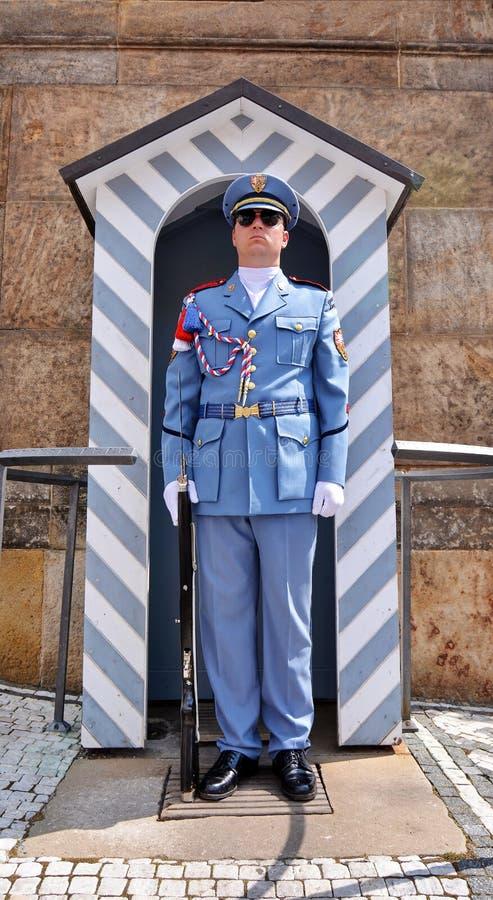 Guard at Prague Castle. Blue uniformed guard, with bolt action rifle and chromed bayonet, Prague Castle, Czech Republic stock images