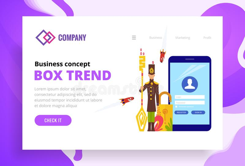 The guard protects the smartphone and viruses attacking him. Landing page template of security web site. Modern flat. Design concept of web page design for vector illustration