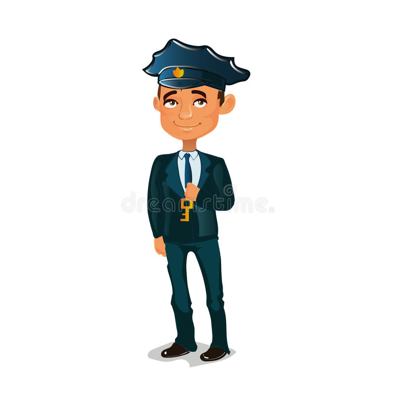 Guard standing and holding a key royalty free illustration
