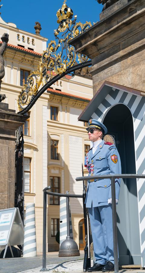 Guard stands at attention protecting Prague Castle August 29, 2017 in Prague Czech Republic royalty free stock image