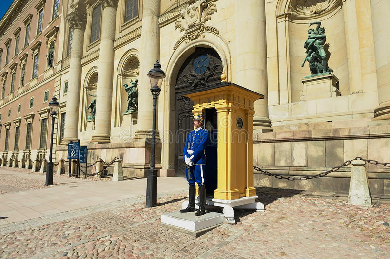 Guard stands on duty at the Royal palace in Stockholm, Sweden. royalty free stock photos