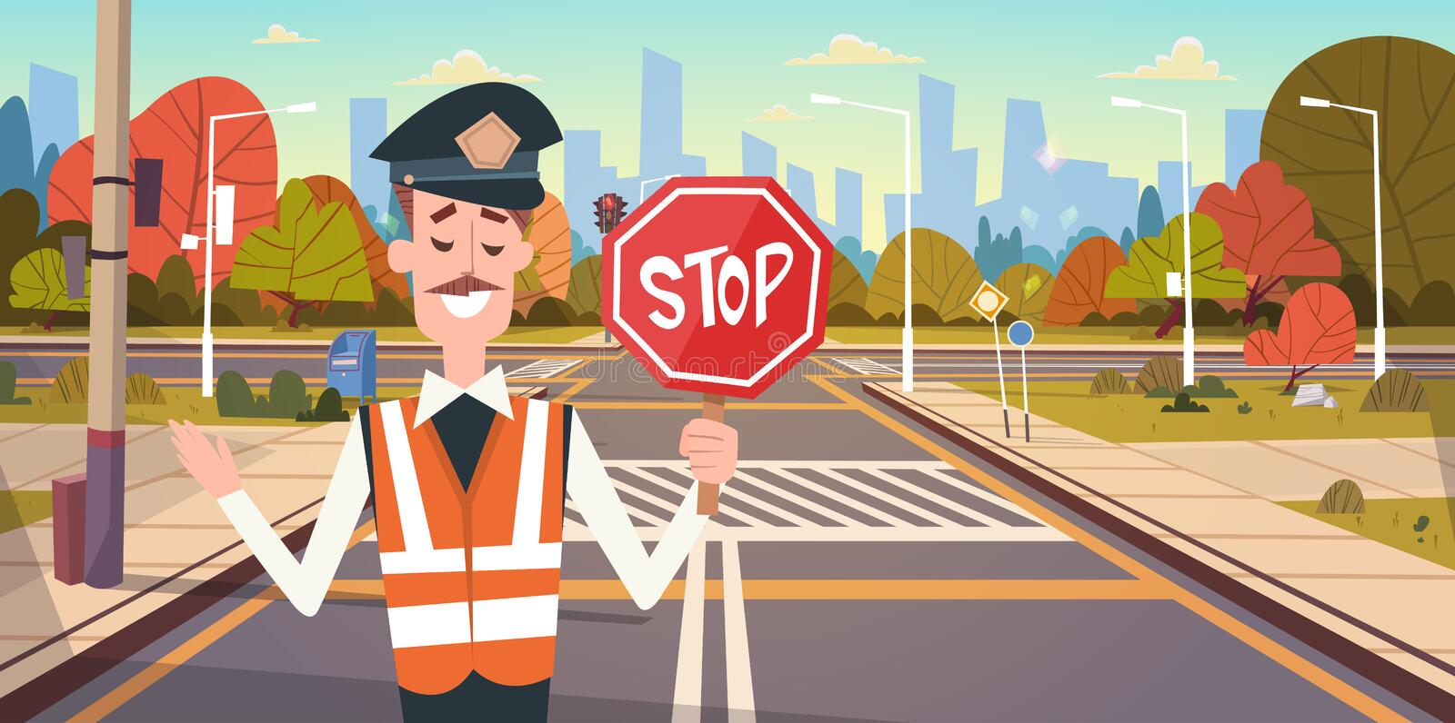 Guard With Stop Sign On Road With Crosswalk And Traffic Lights royalty free illustration