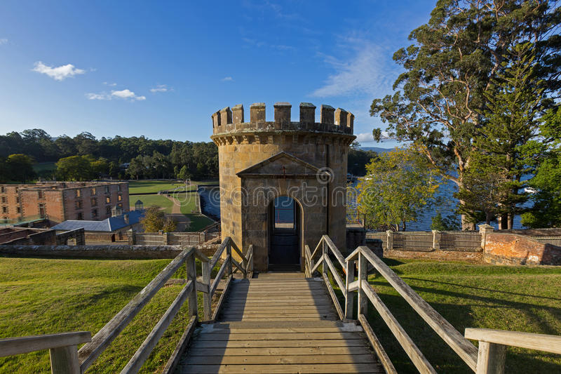 The Guard Tower as a ruin on Settlement Hill at Port Arthur Hist. Port Arthur, Tasmania, Australia - April 12, 2017 : The Guard Tower as a ruin on Settlement royalty free stock images