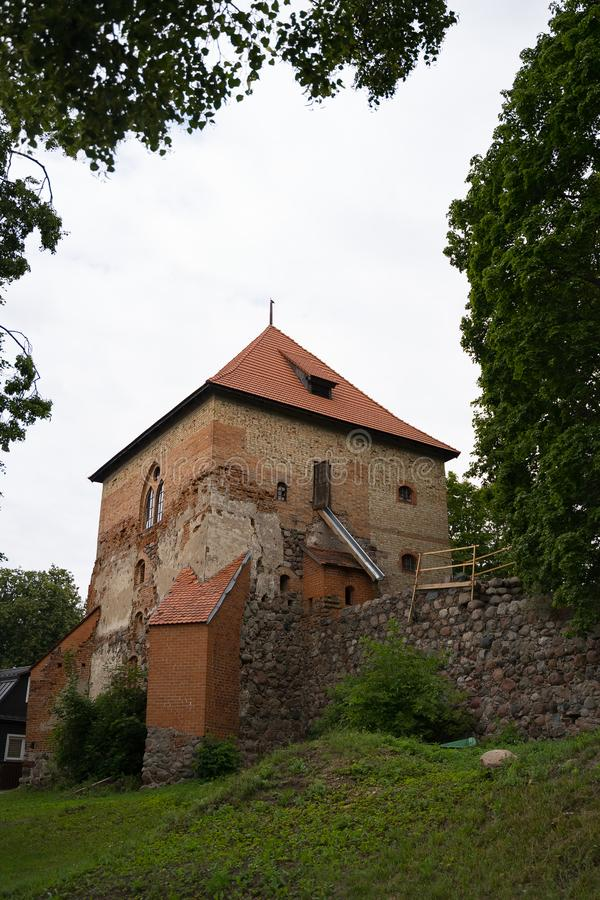 Guard tower of medieval Half-Island Castle in Trakai, Lithuania stock photo