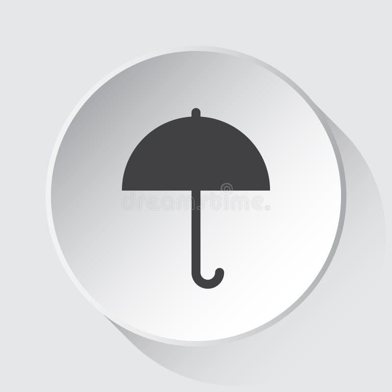Guarda-chuva - ícone cinzento simples no botão branco ilustração stock