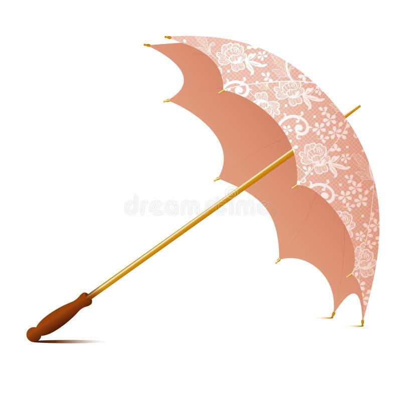 Guarda-chuva acessório do vintage com laços brancos ilustração royalty free