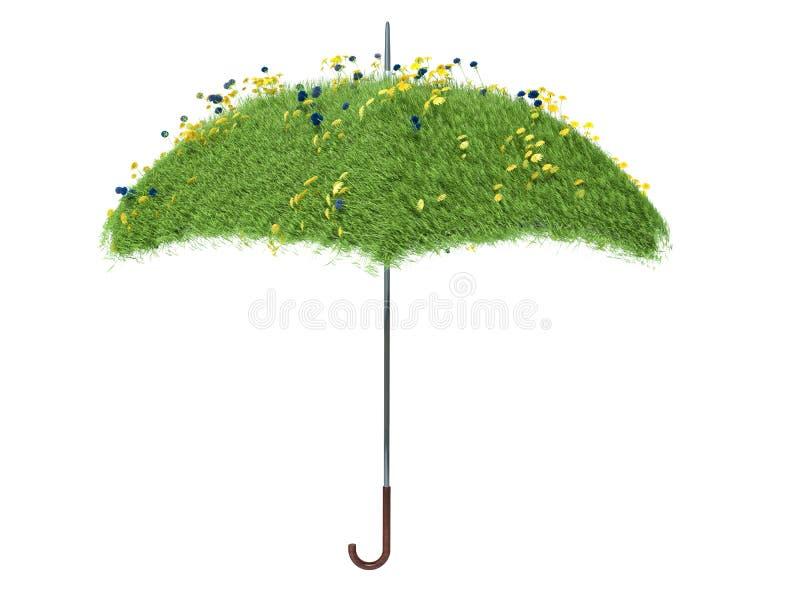Guarda-chuva coberto com a grama verde Isolado no fundo branco ilustração stock