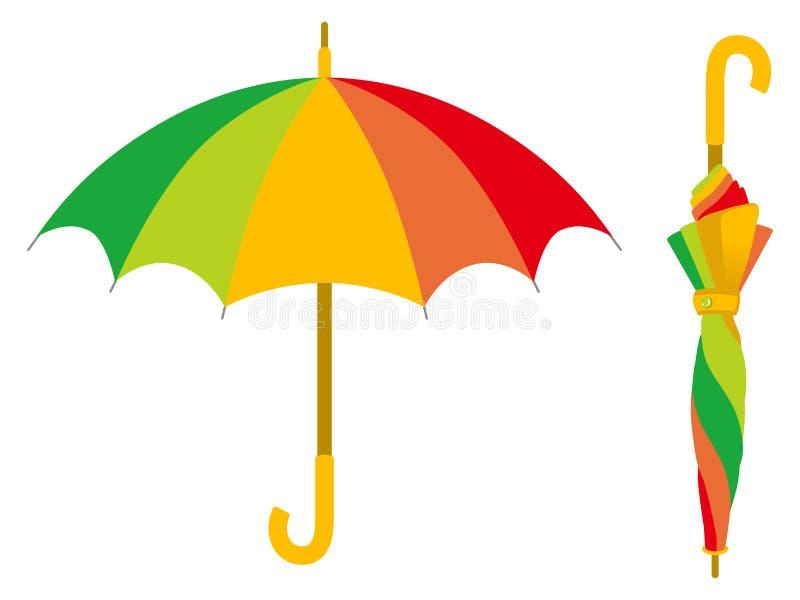Guarda-chuva colorido, aberto e fechado ilustração royalty free