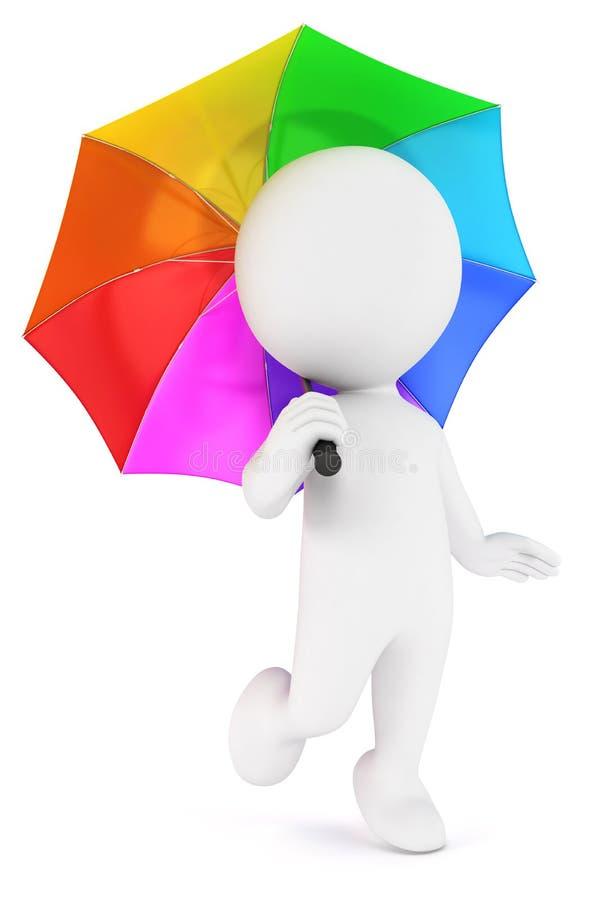 guarda-chuva colorido dos povos 3d brancos ilustração do vetor