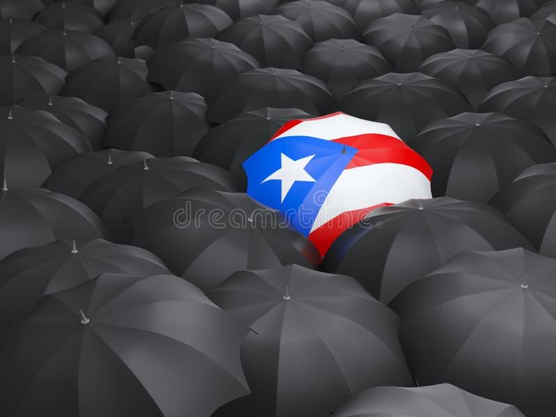 Guarda-chuva com a bandeira de Puerto Rico ilustração royalty free