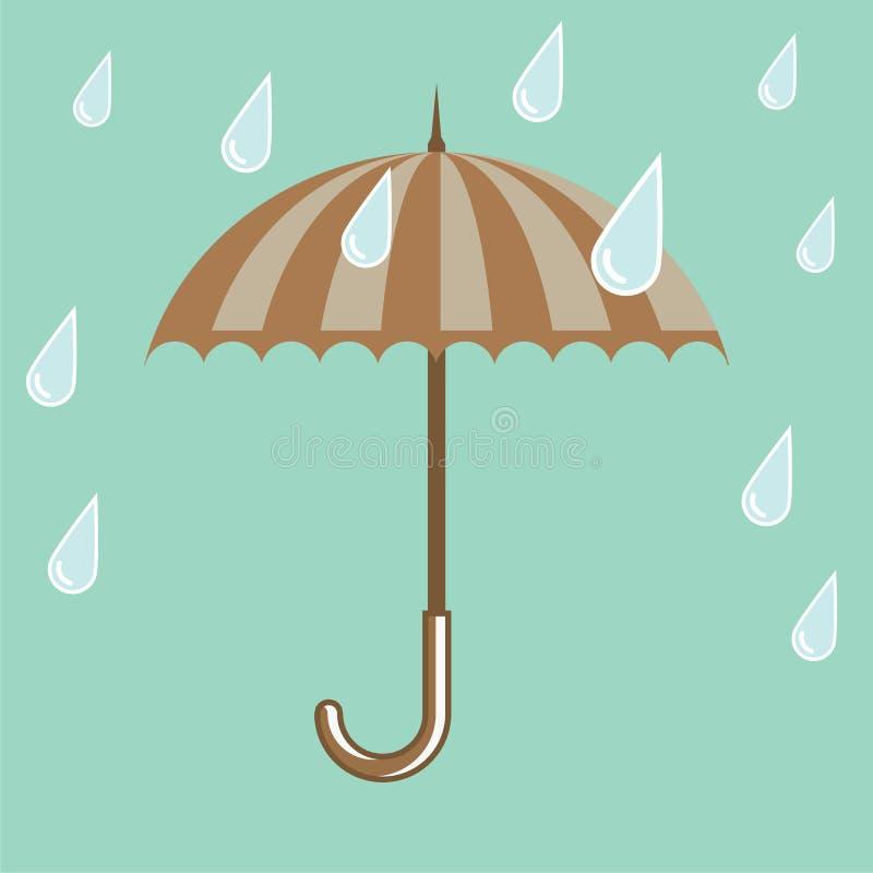 guarda-chuva com gotas da chuva ilustração stock