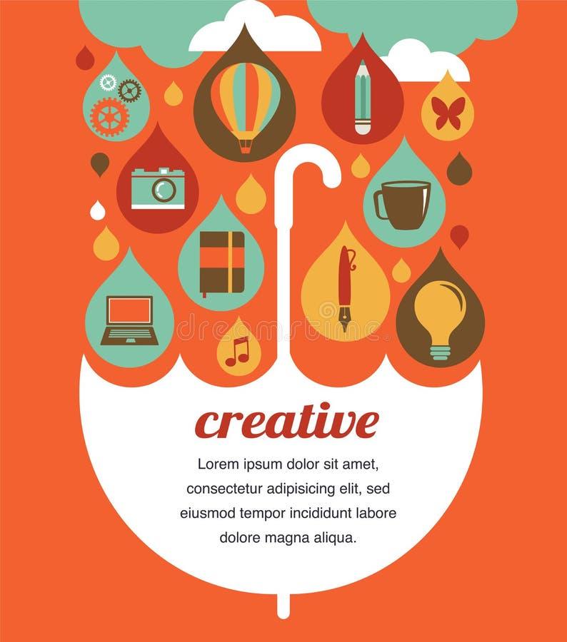 Guarda-chuva criativo - conceito da ideia e de projeto ilustração stock