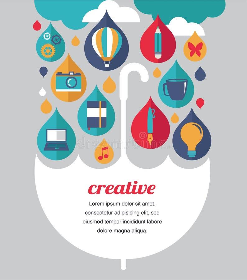 Guarda-chuva criativo - conceito da ideia e de projeto ilustração do vetor