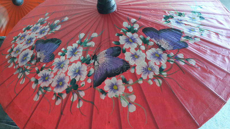 Guarda-chuva da pintura da mão foto de stock
