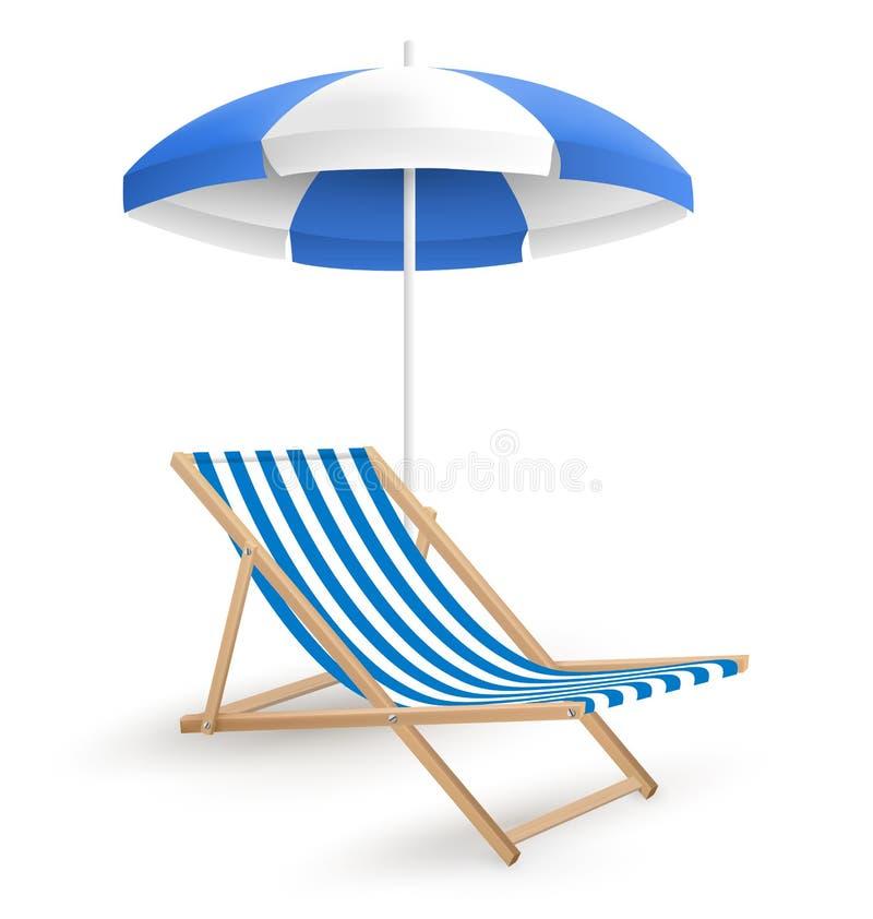 Guarda-chuva de praia de Sun com a cadeira de praia no branco ilustração stock
