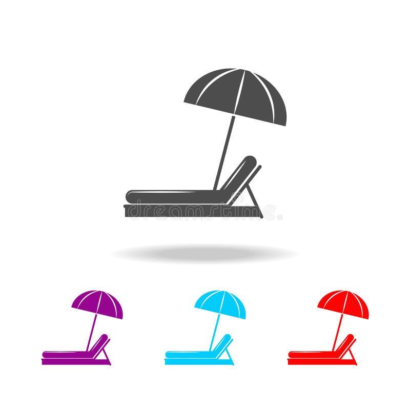 Guarda-chuva de praia e de vadio de Sun ícone Elementos do curso em multi ícones coloridos Ícone superior do projeto gráfico da q ilustração stock