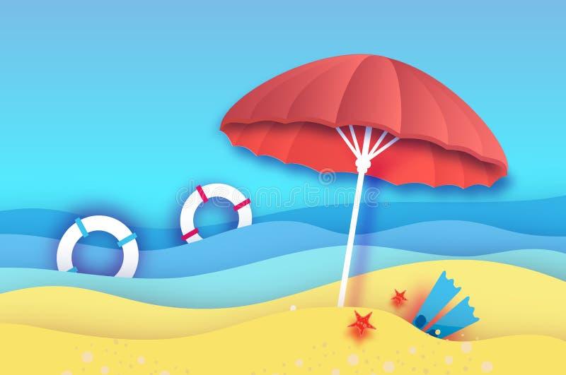 Guarda-chuva de praia - o parasol vermelho no papel cortou o estilo Mar do origâmi e praia com aletas, boia salva-vidas Férias na ilustração royalty free