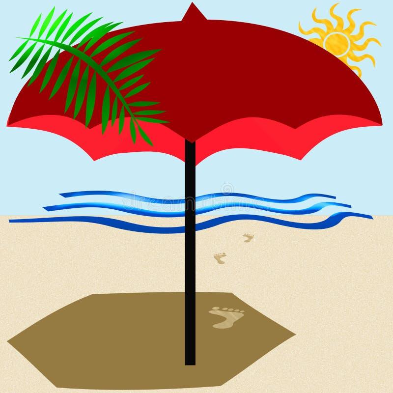 Guarda-chuva de praia vermelho ilustração stock