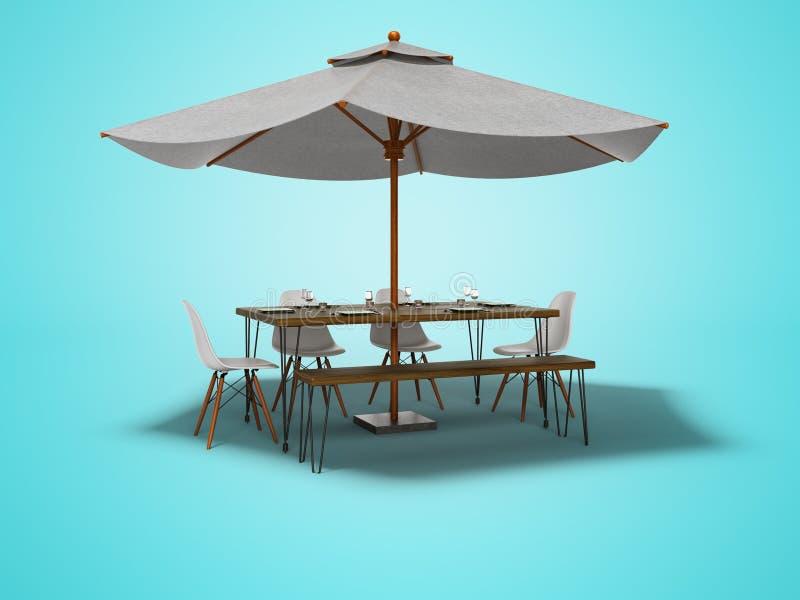 Guarda-chuva do restaurante do verão com tabela e as cadeiras de madeira 3d para render no fundo azul com sombra ilustração do vetor
