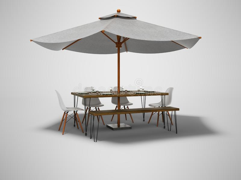 Guarda-chuva do restaurante do verão com tabela e as cadeiras de madeira 3d para render no fundo cinzento com sombra ilustração royalty free
