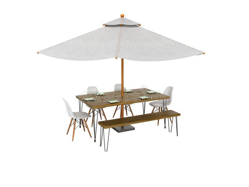 Guarda-chuva do verão do conceito com tabela e cadeiras para o piquenique 3d para não render no fundo branco nenhuma sombra ilustração stock
