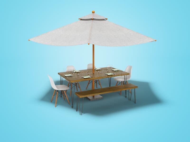 Guarda-chuva do verão do conceito com tabela e cadeiras para o piquenique 3d para render no fundo azul com sombra ilustração stock