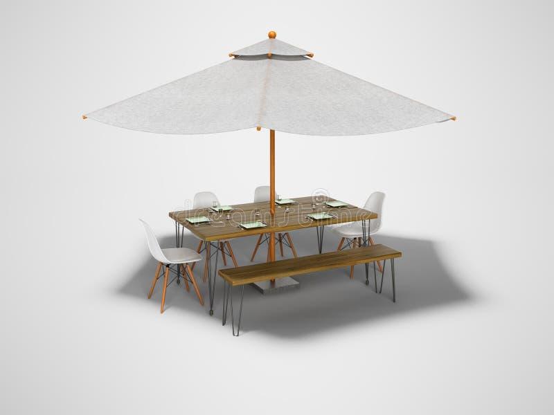 Guarda-chuva do verão do conceito com tabela e cadeiras para o piquenique 3d para render no fundo cinzento com sombra ilustração stock
