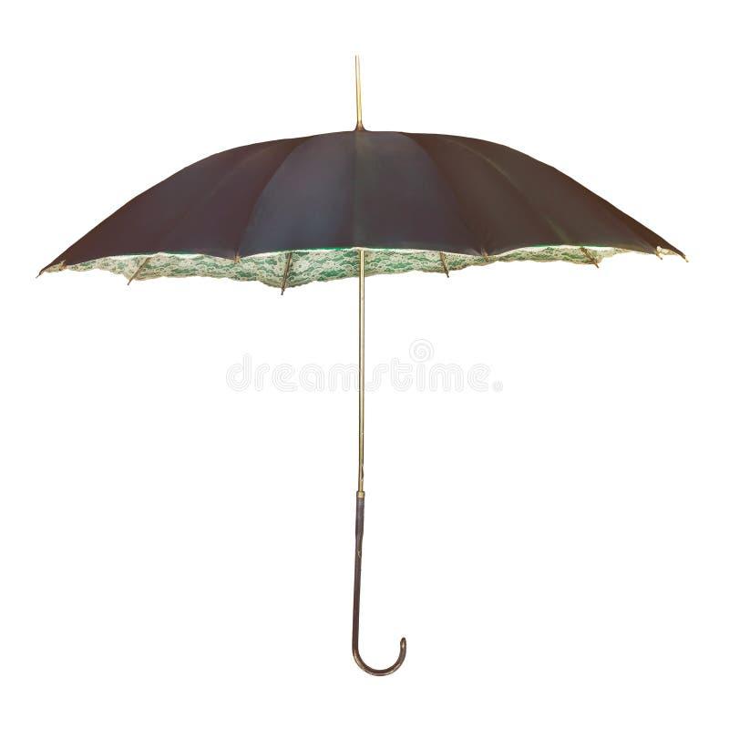 Guarda-chuva do vintage com a decoração interna romântica da flor isolada no branco fotos de stock