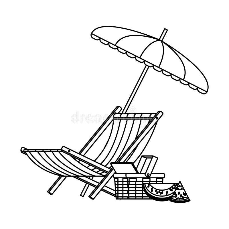 Guarda-chuva e cadeira de praia ilustração royalty free