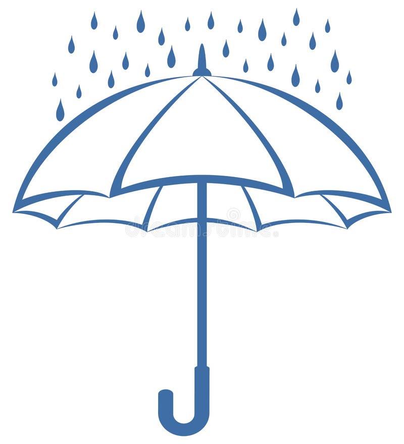 Guarda-chuva e chuva, pictograma ilustração stock